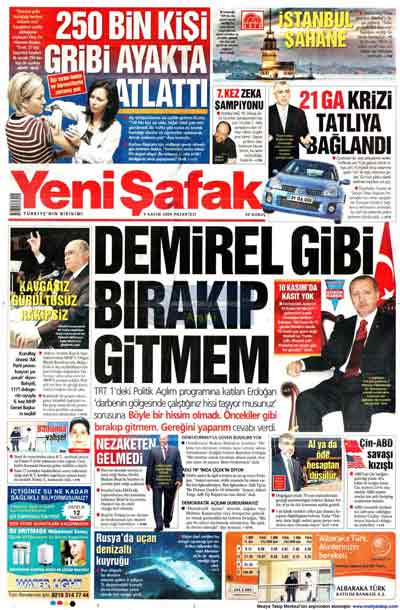 Gazete manşetleri (9 Kasım) galerisi resim 30