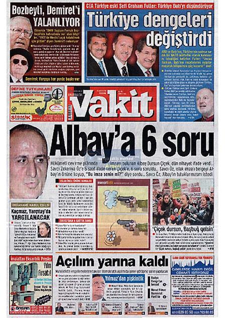 Gazetelerin Albay Çiçek manşetleri galerisi resim 2