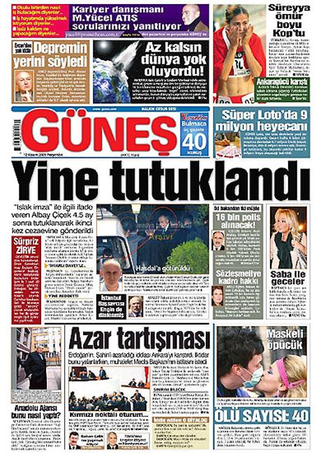 Gazetelerin Albay Çiçek manşetleri galerisi resim 5
