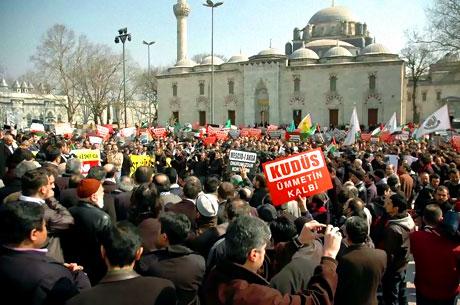 Onbinler İstanbul'da İsrail'i protesto etti! galerisi resim 1