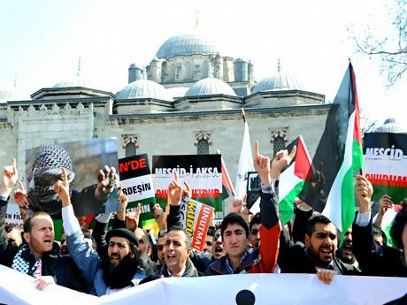 Onbinler İstanbul'da İsrail'i protesto etti! galerisi resim 4