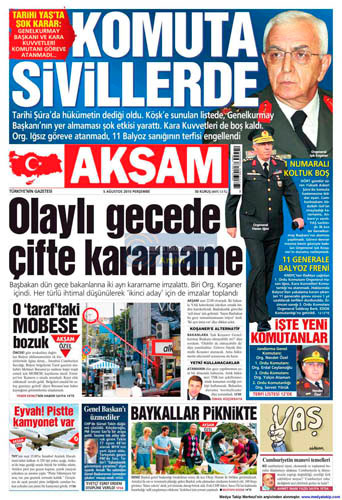 Gazetelerin müthiş YAŞ manşetleri galerisi resim 1