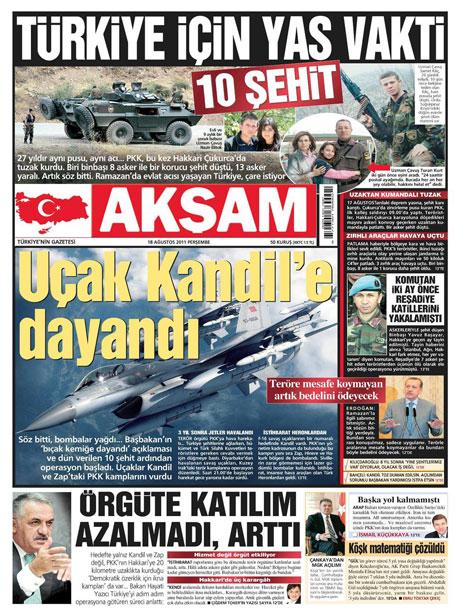 Türk medyasında Kandil manşetleri galerisi resim 1