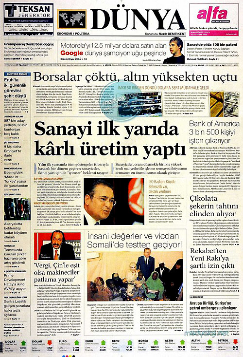 Günün Gazete Manşetleri (20.08.11) galerisi resim 6