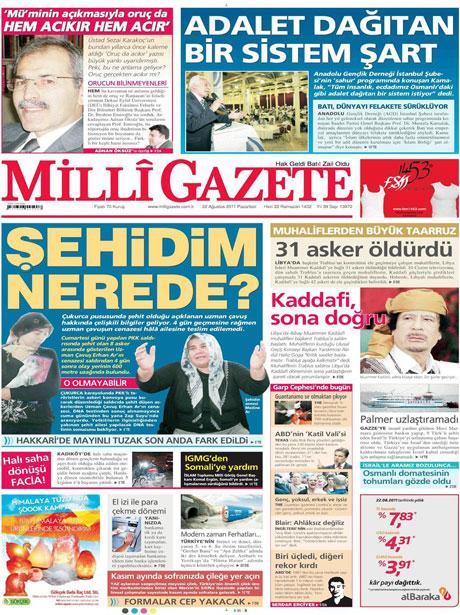 Günün önemli gazete manşetleri (22.08.11) galerisi resim 9