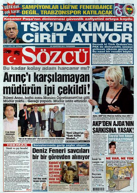 Günün önemli gazete manşetleri (25.08.11) galerisi resim 15