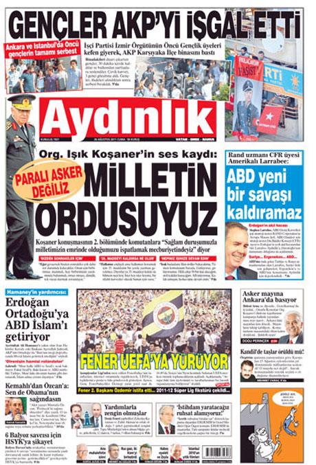 Günün önemli gazete manşetleri (26.08.11) galerisi resim 1