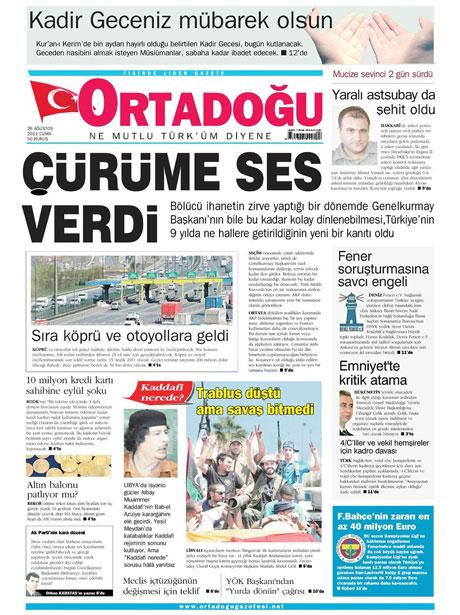 Günün önemli gazete manşetleri (26.08.11) galerisi resim 11