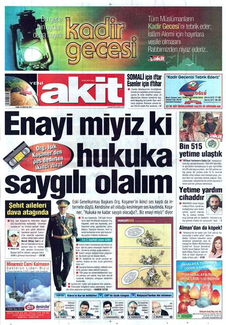 Günün önemli gazete manşetleri (26.08.11) galerisi resim 21