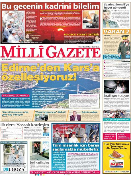 Günün önemli gazete manşetleri (26.08.11) galerisi resim 9
