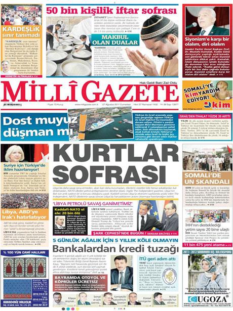 Günün önemli gazete manşetleri (27.08.11) galerisi resim 9