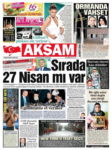 Günün önemli gazete manşetleri (29.08.11) galerisi resim 1