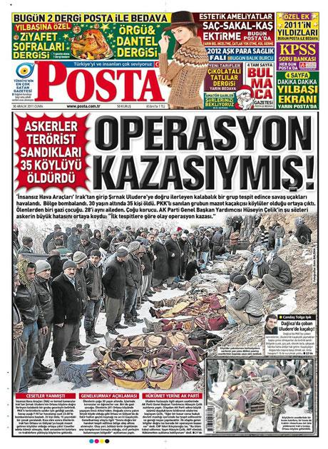 Gazeteler 'Uludere katliamı'nı nasıl gördü? galerisi resim 12