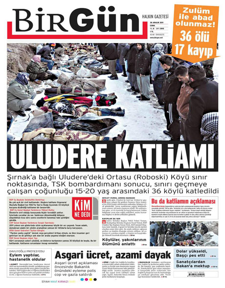 Gazeteler 'Uludere katliamı'nı nasıl gördü? galerisi resim 2
