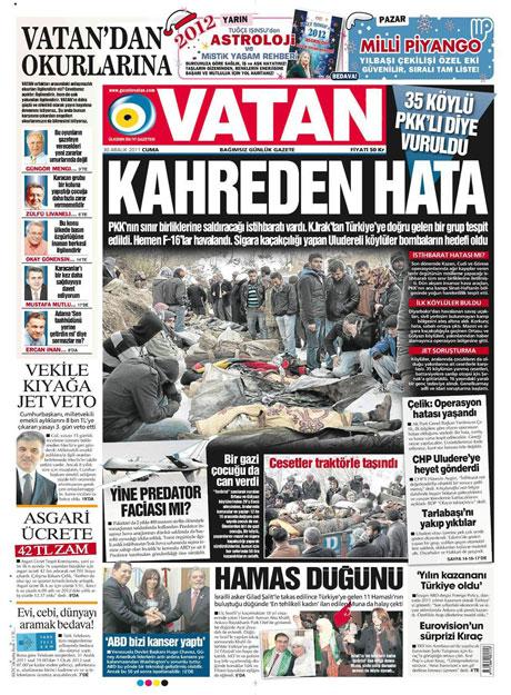 Gazeteler 'Uludere katliamı'nı nasıl gördü? galerisi resim 20