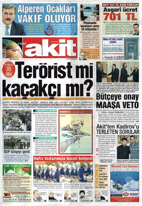 Gazeteler 'Uludere katliamı'nı nasıl gördü? galerisi resim 21