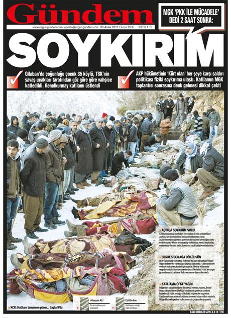 Gazeteler 'Uludere katliamı'nı nasıl gördü? galerisi resim 24