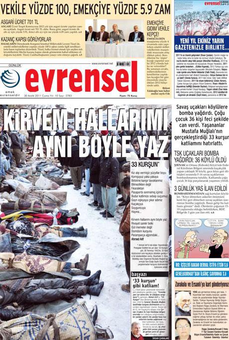 Gazeteler 'Uludere katliamı'nı nasıl gördü? galerisi resim 5