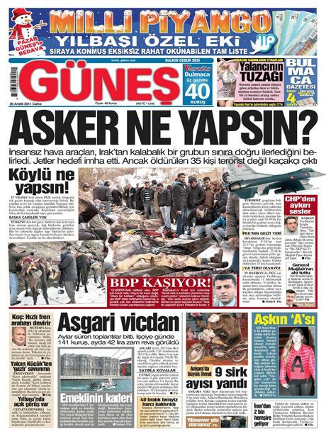 Gazeteler 'Uludere katliamı'nı nasıl gördü? galerisi resim 6