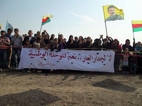 Nusaybin'de-Rojava'da duvar protesto edildi galerisi resim 41
