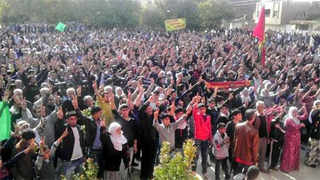 Nusaybin'de-Rojava'da duvar protesto edildi galerisi resim 6