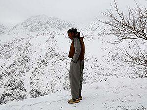 Hawraman Taht köyünde kar manzarası