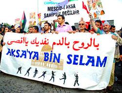 Taksim'de İsrail'e büyük protesto!