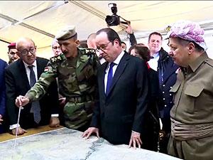 Hollande, Barzani ile birlikte cephede